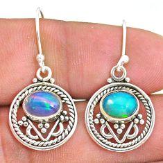 925 silver 3.83cts natural multi color ethiopian opal dangle earrings t32872