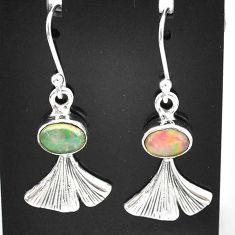 925 silver 3.05cts natural multi color ethiopian opal dangle earrings t5925