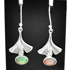 925 silver 3.31cts natural multi color ethiopian opal dangle earrings t5956