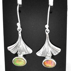 925 silver 3.32cts natural multi color ethiopian opal dangle earrings t5964