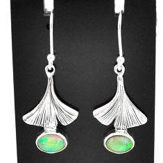 925 silver 3.23cts natural multi color ethiopian opal dangle earrings t5996