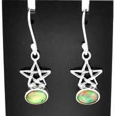 925 silver 2.94cts natural multi color ethiopian opal dangle star earrings t5989