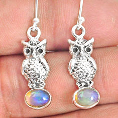 925 silver 3.13cts natural multi color ethiopian opal owl earrings r76278