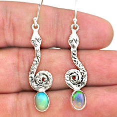 925 silver 4.08cts natural multi color ethiopian opal snake earrings t32933