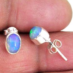 925 silver 1.68cts natural multi color ethiopian opal stud earrings r56264
