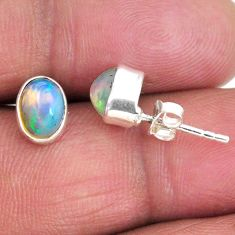 925 silver 1.77cts natural multi color ethiopian opal stud earrings r56275