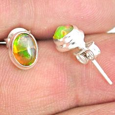 925 silver 2.00cts natural multi color ethiopian opal stud earrings r72156