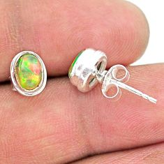 925 silver 2.64cts natural multi color ethiopian opal stud earrings t19284