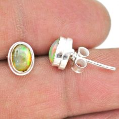 925 silver 2.65cts natural multi color ethiopian opal stud earrings t19297