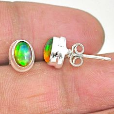925 silver 2.05cts natural multi color ethiopian opal stud earrings t2908