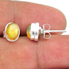 925 silver 2.43cts natural multi color ethiopian opal stud earrings t39627