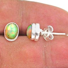 925 silver 2.46cts natural multi color ethiopian opal stud earrings t39630