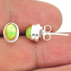 925 silver 2.38cts natural multi color ethiopian opal stud earrings t39633
