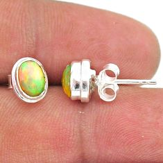 925 silver 2.39cts natural multi color ethiopian opal stud earrings t39636