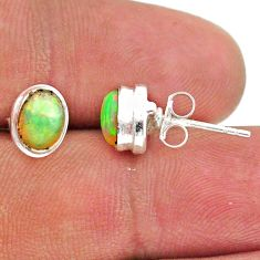 925 silver 2.46cts natural multi color ethiopian opal stud earrings t39639