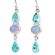 925 silver 9.88cts natural multi color ethiopian opal topaz earrings r47556