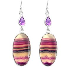 925 silver 22.78cts natural multi color fluorite amethyst dangle earrings r86744