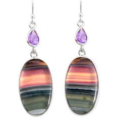 925 silver 24.06cts natural multi color fluorite amethyst dangle earrings r86748