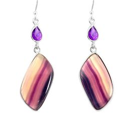 925 silver 24.61cts natural multi color fluorite amethyst dangle earrings r86844