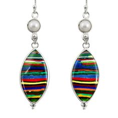 925 silver 15.25cts natural multi color rainbow calsilica dangle earrings r28844