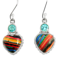 Clearance Sale- 925 silver 13.09cts natural multi color rainbow calsilica heart earrings d39515