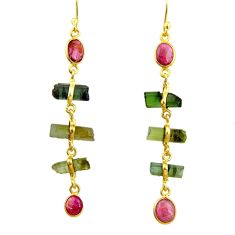 925 silver 11.69cts natural multi color tourmaline 14k gold earrings r33304