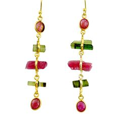 925 silver 12.35cts natural multi color tourmaline 14k gold earrings r33308