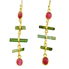 925 silver 8.73cts natural multi color tourmaline 14k gold earrings r33313
