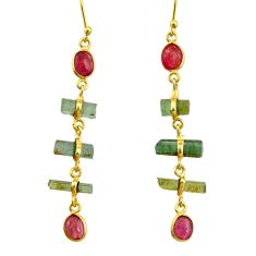 925 silver 10.64cts natural multi color tourmaline 14k gold earrings r33319