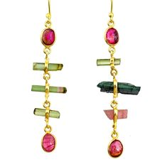 925 silver 10.33cts natural multi color tourmaline 14k gold earrings r33327