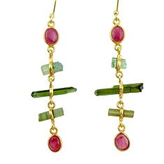 925 silver 9.77cts natural multi color tourmaline 14k gold earrings r33329