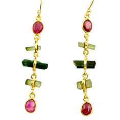 925 silver 10.28cts natural multi color tourmaline 14k gold earrings r33331