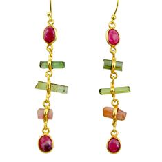 925 silver 9.74cts natural multi color tourmaline 14k gold earrings r33334