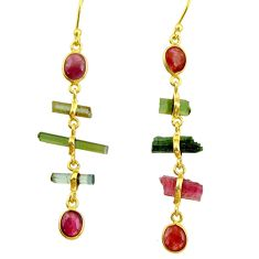 925 silver 10.33cts natural multi color tourmaline 14k gold earrings r33336