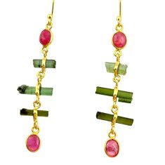 925 silver 8.04cts natural multi color tourmaline 14k gold earrings r33339