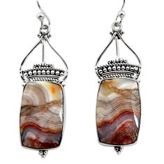 925 silver 17.65cts natural multicolor mexican laguna lace agate earrings r30252