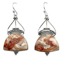 925 silver 21.68cts natural multicolor mexican laguna lace agate earrings r30264