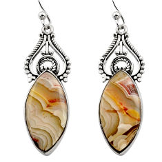 925 silver 17.10cts natural multicolor mexican laguna lace agate earrings r30269