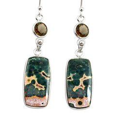 925 silver 16.68cts natural multicolor ocean sea jasper dangle earrings r75715
