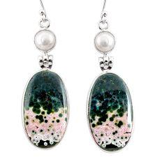 925 silver 21.53cts natural ocean sea jasper (madagascar) dangle earrings r75704
