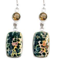 925 silver 18.39cts natural ocean sea jasper (madagascar) dangle earrings r75712