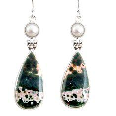 925 silver 19.73cts natural ocean sea jasper (madagascar) dangle earrings r75719