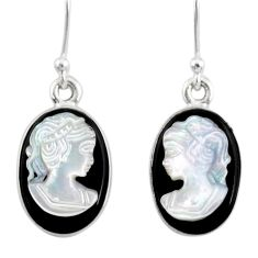 925 silver 6.99cts natural opal cameo on black onyx lady face earrings r80431