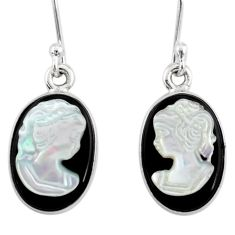 925 silver 7.54cts natural opal cameo on black onyx lady face earrings r80436
