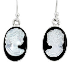 925 silver 7.06cts natural opal cameo on black onyx lady face earrings r80438