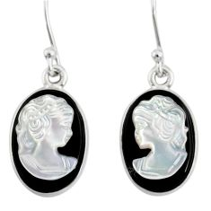 925 silver 7.52cts natural opal cameo on black onyx lady face earrings r80440
