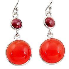925 silver 17.35cts natural orange cornelian (carnelian) dangle earrings r36567