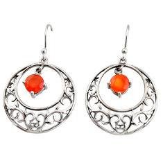 925 silver 2.63cts natural orange cornelian (carnelian) dangle earrings r36810