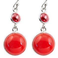 925 silver 20.40cts natural orange cornelian (carnelian) garnet earrings r36544
