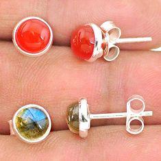 925 silver 4.46cts natural orange cornelian (carnelian) stud earrings t23923